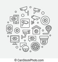 Video surveillance symbol. Vector CCTV illustration