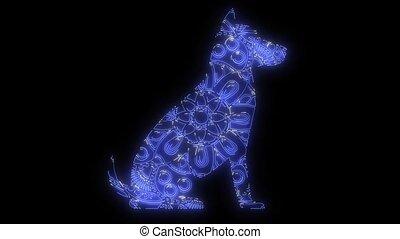 video, sylwetka, ożywienie, laser, pies
