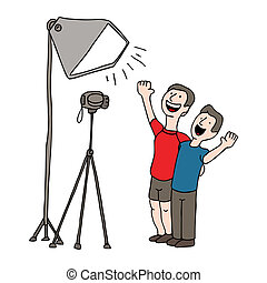 Video Taping Session - An image of two men having a video...