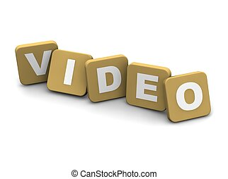 Video text. 3d rendered illustration isolated on white.