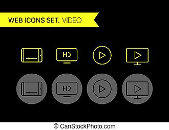Video thin line icons vector set
