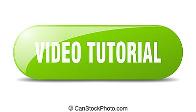 video tutorial button. sticker. banner. rounded glass sign