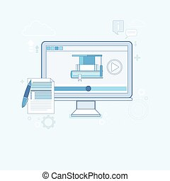 Video Tutorial Editor Concept Modern Technology Vector...