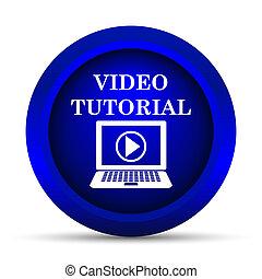 Video tutorial icon. Internet button on white background.