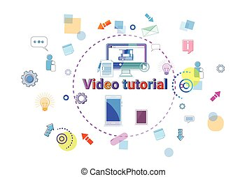 Video Tutorial Learn Online Banner Internet Education Elearning Concept