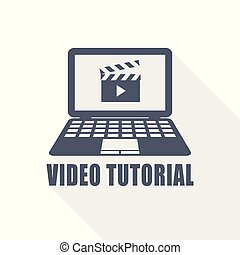 video tutorial web icon, flat design vector illustration