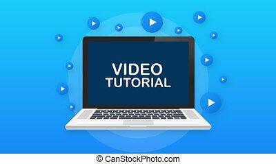 Video tutorials Button, icon, emblem label. Motion graphics