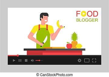 Video tutorials. Man Food blogger on video screen. Social media marketing. flat style. isolated on white background