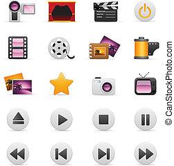 video, und, foto, ikone, satz