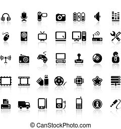 video, und, ton, ikone, satz
