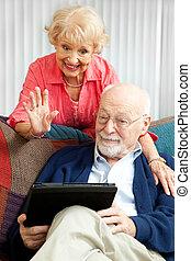 video, unterhaltung, mit, der, grandkids