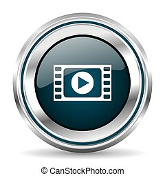 Video vector icon. Chrome border round web button. Silver...