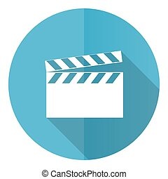 Video vector icon, flat design blue round web button isolated on white background