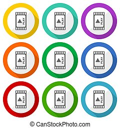 Video vector icons, set of colorful flat design buttons for webdesign and mobile applications