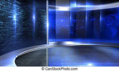 Video wall blue - Virtual set studio for green footage ...