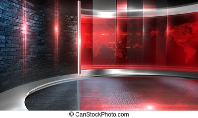 Video wall red - Virtual set studio for green footage ...