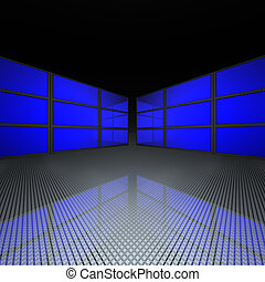video wall with blue screens in 3d