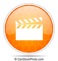 Video web icon. Round orange glossy internet button for webdesign.