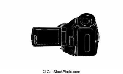 video, weißes, fotoapperat, schwarz, hd