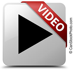 Video white square button red ribbon in corner