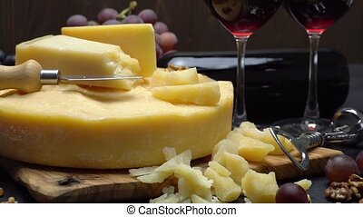 Video Whole round Head of parmesan or parmigiano hard...