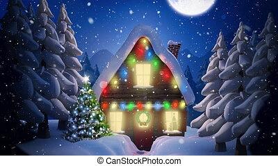 video, winter, op, samenstelling, landschap, nacht, sneeuw