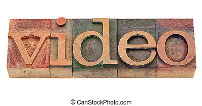 video word in vintage letterpress type