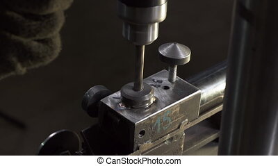 Video working process on lathe with drill in workshop - ...