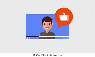 video young man and speech bubble like hand animation hd