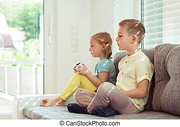 video, zwei kinder, spiele, daheim, spielende , glücklich