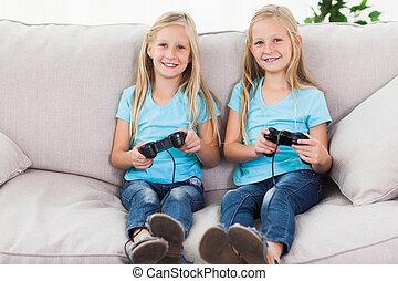 video, zwillinge, spiele, porträt, spielen zusammen