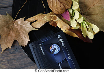 Video8 cassette and leaves on vintage vinyl record