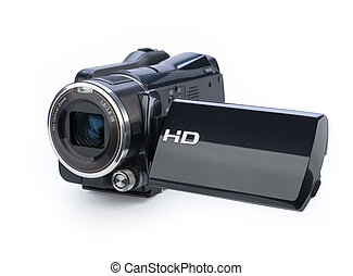 videocámara digital, aislado, blanco, plano de fondo