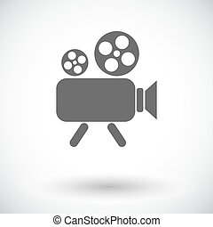 Videocamera. Single flat icon on white background. Vector...