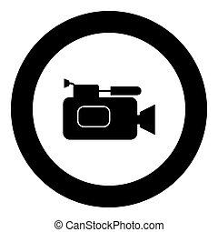Videocamera icon black color in circle vector illustration...