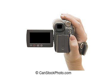 Videocamera in a female hand