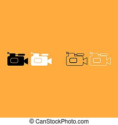 Videocamera it is white icon . Simple style .