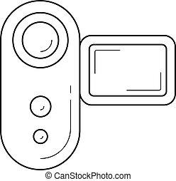 Videocamera line icon. - Videocamera vector line icon...