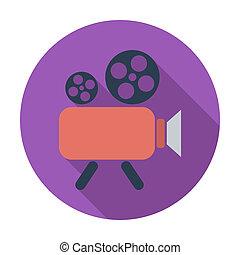 Videocamera. Single flat color icon. Vector illustration.