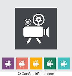 Videocamera. Single flat icon. Vector illustration.