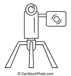 Videocamera stand icon, outline style