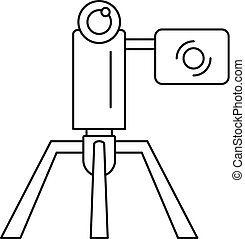 Videocamera stand icon, outline style - Videocamera stand...