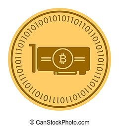 Videocard golden digital coin icon. Vector style is a gold yellow flat coin cryptocurrency symbol.