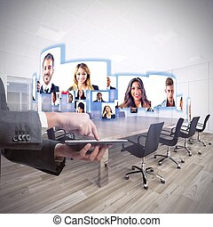 Videoconference business team - Business team talks about ...