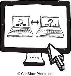 videoen avskärmar, klotter, pratstund, dator