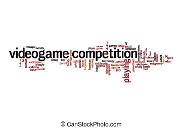 Videogame competition word cloud concept