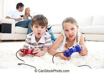 videogame, excitado, niños jugar