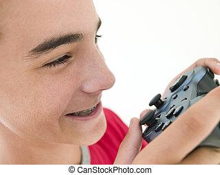 videogame, garçon, adolescent, contrôleur, utilisation