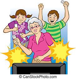 videogame, juego, abuelita