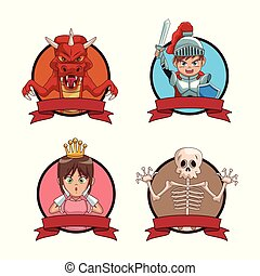 Videogames characters cartoons icons set